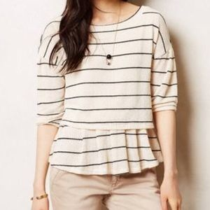 Anthropologie postmark striped latitude peplum top
